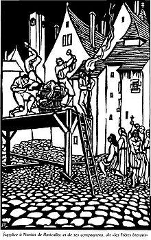 Supplice à Nantes de Pontcallec et ses compagnons, par Jeanne Malivel. Source Wikipedia
